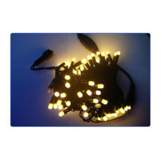 Светодиодная уличная гирлянда, 2 модуля по 50 ламп, свечение: теплый белый, провод черный каучук, длина 10м, возможность соединения