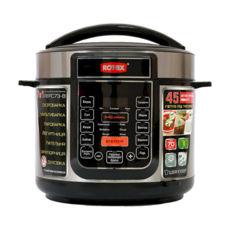 Мультиварка Rotex REPC73-B, 900Вт, 5л, скороварка, дисплей, керамическая чаша, 17 программ, жарка, йогурт, выпечка, холодец, функции: отсрочка старта, поддержка температуры, шеф- повар, крышка для кастрюли, нержавейка/черный